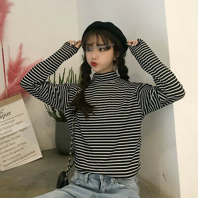 Fall Winter Women Striped Long Sleeve Turtleneck Warm Thermal T Shirt Blouse Top