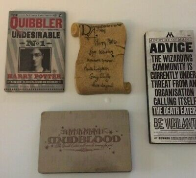 Harry Potter Dumbledore's Army Mudblood Quibbler MAGNET COLLECTION Set Lot OF 4