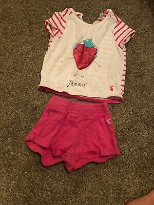 Joules Age 2 Strawberry Jammin Tshirt And Short Set Faint Marks
