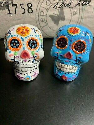 DAY OF THE DEAD SALT & PEPPER SHAKERS BLUE WHITE ROSE SKULLS Dia de los Muertos