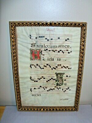 Antique, c 1600, Large Illuminated Manuscript, Hand Written on Lambskin
