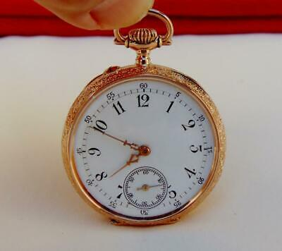 Antique 1912 18 K SOLID GOLD SWISS POCKET WATCH 15 jewels MINT DIAL - RUNS