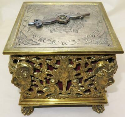 17th Century 24 Hour Dial Horizontal Table Clock w/ Replaced English Movement