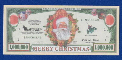 USA United States 1 Million Dollars NEW Fantasy XMAS Santa Claus Banknote