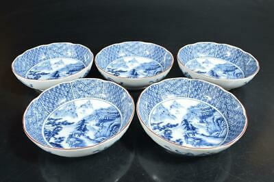 T2119: Japan Arita-ware Colored porcelain Landscape pattern PLATE/Bowl/Dish 5pcs