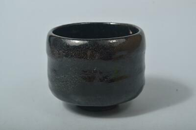 T5140: Japanese Old Raku-ware Black glaze TEA BOWL Green tea tool Tea Ceremony