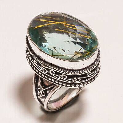 Golden Needle Rutile .925 Silver Plated Hand Carving Ring Size-7 Jewelry JA609