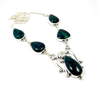 Green Jade .925 Silver Plated Handmade Designer Necklace Jewelry KD17