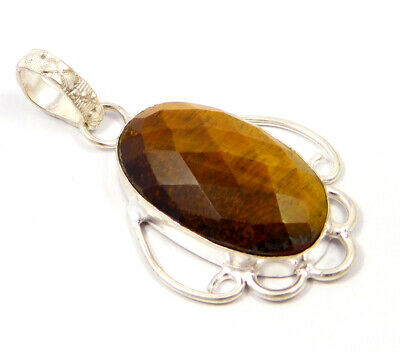 Tiger's Eye .925 Silver Plated Handmade Pendant Jewelry JC4779