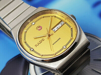 Vintage Rado Voyager Automatic Day Date Men's Yellow Dial Gents.