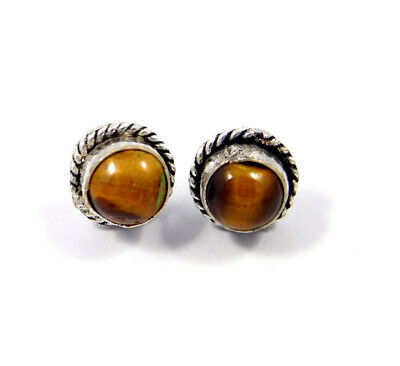 Tiger's Eye .925 Silver Plated Handmade Stud Earring Jewelry JC8226