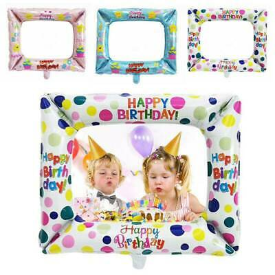3pcs Foil Balloons Photo Frame Fun Props Kids Happy Birthday Party Decorations
