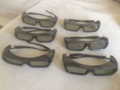 Sony TDG-BR250 Active 3D Glasses x 6 Pairs Each With Cloth Bag