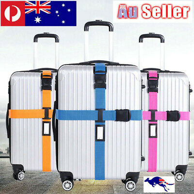 Adjustable Luggage Cross Strap Packing Belt Safe Code-lock Suitcase Travel AU