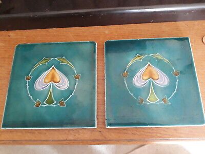 Antique Art Nouveau Tiles Pair T & R Boote