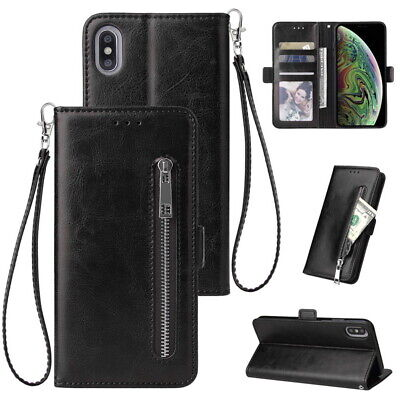 For iPhone 11 Pro Max XS XR X 8 7 6s Plus Genuine Leather Cover Zip Wallet Case