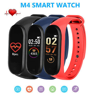 Smart Watch Bluetooth Heart Rate Blood Pressure FitBit Fitness Tracker M4 UK