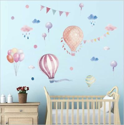 Wall Stickers balloon hot air balloon cloud flags PVC decal decor Nursery kids