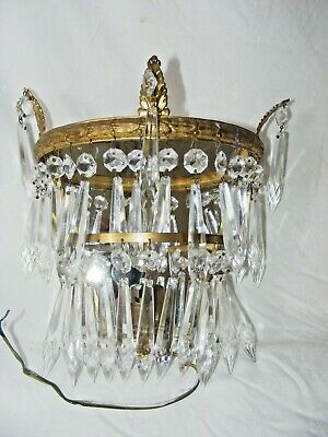 Antique Crystal Wall Light / Sconce 2 Tiers Prism Icicle Gilt Bronze Mirror Back