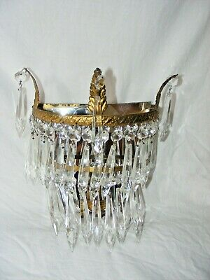 Antique Crystal Wall Light / Sconce 2 Tiers Icicle Gilt Bronze Mirror Back #