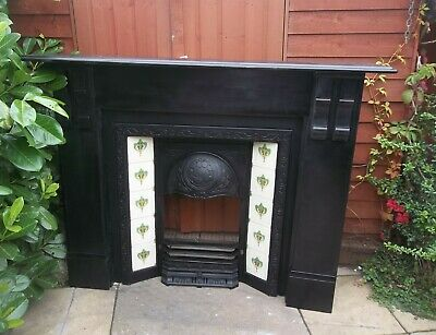 Antique Victorian Cast Iron Insert Fireplace With Tiles  & Black Slate Surround