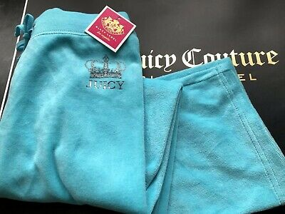 Juicy Couture Girl Age 8 Tracksuit Bottoms Joggers Velour Turq Bnwt 🎀🌸🎀🌸