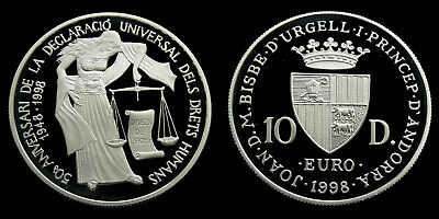 Andorra - 10 Diners 1998 PP ~ Human Rights .925 silver, 31.47 gram