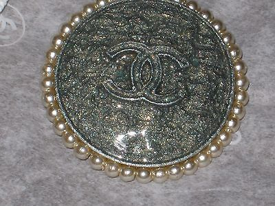1Chanel 1 Green Khaki Cc Logo Front Color Pearls  16 Mm /  Under 3/4 '' New Lot1
