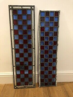 Two Vintage Leaded Stain Glass Windows