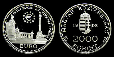 Hungary - 2000 Forint 1998 PP ~ Integration European Union .925 silver, 31.46 gr