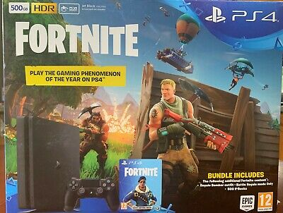 PS4 500GB Console (Black) with Fortnite and Royal Bomber Pack DLC - Brand New