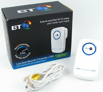 BT Broadband 11ac Dual Band Wi Fi Extender 1200 White Ethernet Cable Boxed USED