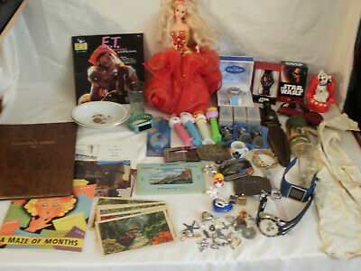 Junk Drawer Lot Hunting Knife Disney Barbie Watches Jewelry Antiques Collectible