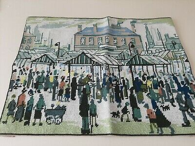 Large Completed Needlepoint tapestry kit Dmc 486 LS Lowry, Market scene.