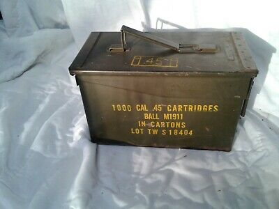 US ARMY METAL AMMO AMMUNITION CAN BOX 50 CAL SIZE FOR .45 cal ACP M 1911 RARE