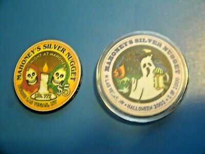 Lot (2) Limited Edition Halloween Casino Chips, Mahoneys Silver Nugget, $1,$5