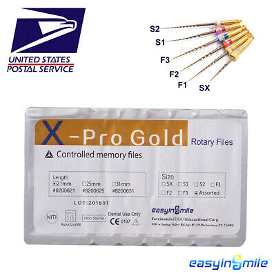 Easyinsmile Dental NITI X-Taper Gold File Endodontic Rotary Engine Use File 6pcs