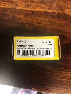 New In Box, Bussman FNM-2 Fuse, Box Of 10 2-amp Fusetron