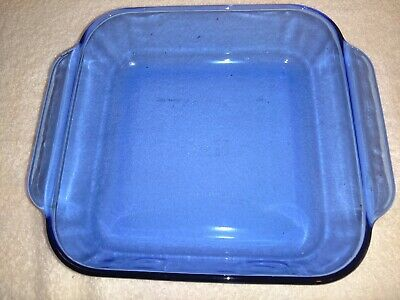 Pyrex Cobalt Blue Square Casserole Baking Dish 222-R -  Size Is 8 X 8 In Vguc