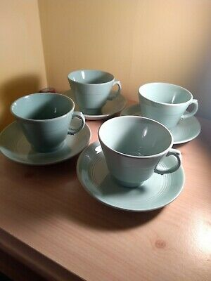 woods ware beryl green Tea Cups And Saucers X 4.