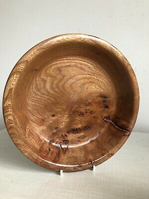 Vintage Elm Wood Shallow Lathe Hand Turned Crafted Carved Treen Dish Bowl MCM