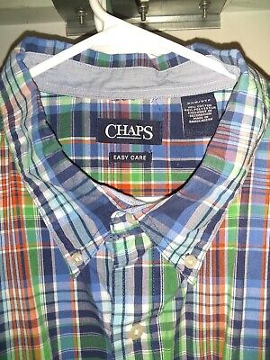 Chaps Men/'s Size 3XL Casual Button Up Red Blue Plad Short Sleeve Easy Care NWT