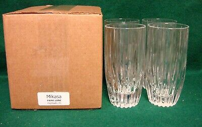Mikasa PARK LANE Highball Tumblers SET of FOUR Mint in Box More Item Available