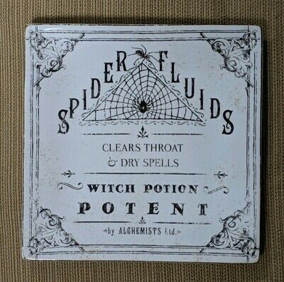 """222 Fifth HALLOWEEN HALLOW APOTHECARY SALAD PLATE SPIDER FLUIDS WEBS 8"""" SQUARE"""
