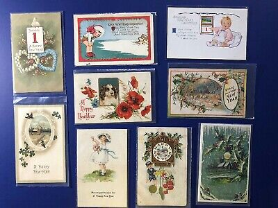 9 New Years Antique Vintage Postcard Lot. Early 1900's. Collector Items. Nice.
