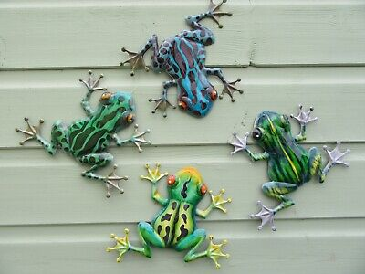 Frog Garden Wall Art - Frogs Garden Wall / Fence Ornaments - Set of Four