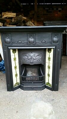 Original Victorian/Edwardian Cast Iron Tiled Combination Fireplace For Decoratio