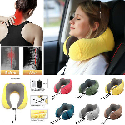 Travel Pillow U shaped Slow Rebound Memory Foam Neck Head Rest Support Cushion
