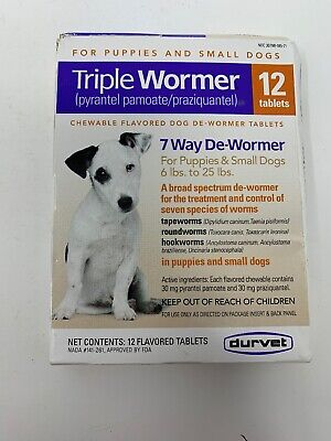 Durvet Triple Wormer for Puppies & Small Dogs 12 Tablets Exp 3/2021