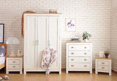 2/3 Door Wardrobe Bedside Table Chest of Drawer Dressing Table White/Grey set
